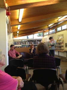 Sarah Hesketh reading, Oliver and Claire seated